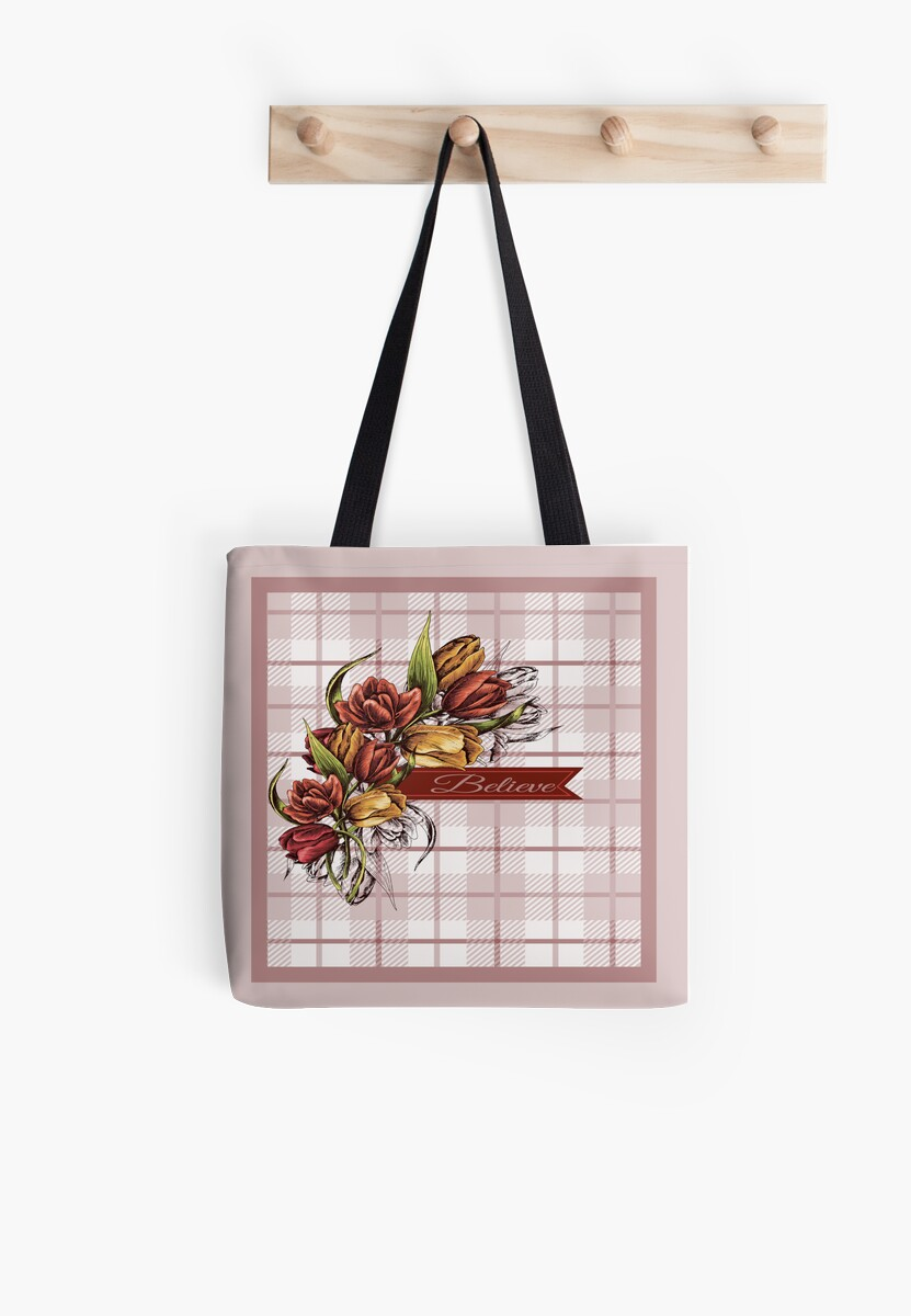Believe Pink Plaid and Floral Tote Bag by Vickie Emms