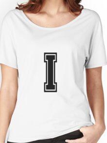 """Letter """"I""""  - Varsity / Collegiate Font - Black Print Women's Relaxed Fit T-Shirt"""