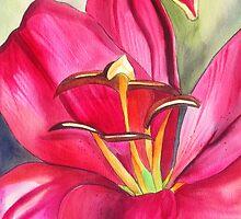 Red Alert day lily watercolour flower by grosselart
