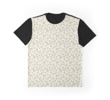 Green on Cream Assorted Leaf Silhouette Pattern Graphic T-Shirt