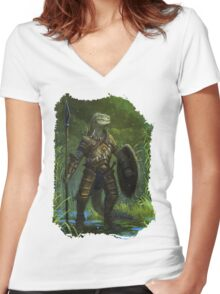 Argonian Warrior Women's Fitted V-Neck T-Shirt
