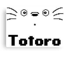 8-Bit Totoro Face with Text <3 My Neighbour Totoro Canvas Print