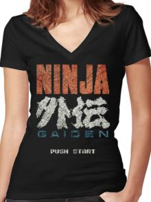 Ninja Gaiden Vintage Emblem Women's Fitted V-Neck T-Shirt