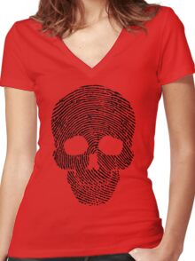 Fingerprint Skull Women's Fitted V-Neck T-Shirt