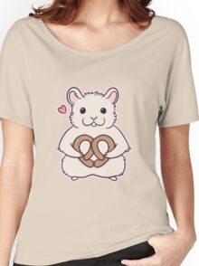I love you more than this hamster loves pretzels Women's Relaxed Fit T-Shirt