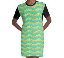 Banana Chevron Graphic T-Shirt Dress