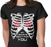 My Hearts Beat For You - White Womens Fitted T-Shirt