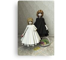 Portrait of two little girls Canvas Print