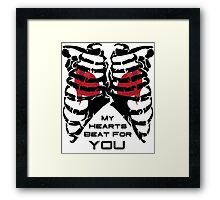 My Hearts Beat For You - Black Framed Print