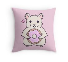 Donut Hamster Throw Pillow