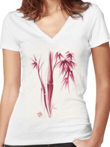 Inspiration - Sumie ink brush zen bamboo painting Women's Fitted V-Neck T-Shirt