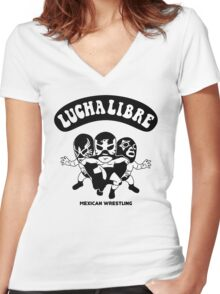 mexican wrestling lucha libre13 Women's Fitted V-Neck T-Shirt