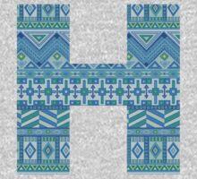 Letter H Blue Aztec Stripes Pattern Boho Monogram Initial One Piece - Long Sleeve