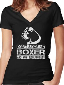 Dont Jugde My Boxer Women's Fitted V-Neck T-Shirt