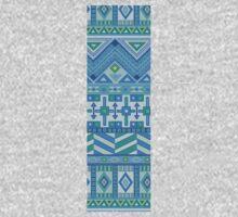 Letter I Blue Aztec Stripes Pattern Boho Monogram Initial One Piece - Long Sleeve