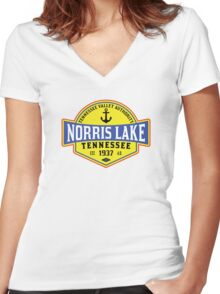 NORRIS LAKE TENNESSEE ANCHOR TN  NAUTICAL BOAT BOATING TVA 3 Women's Fitted V-Neck T-Shirt