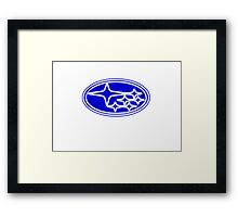 Neon Subaru Badge Framed Print
