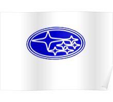 Neon Subaru Badge Poster