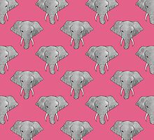 Elephant Pattern on Pink by Perrin Le Feuvre