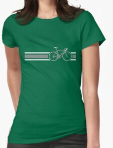 Bike Stripes Grey & White Womens Fitted T-Shirt