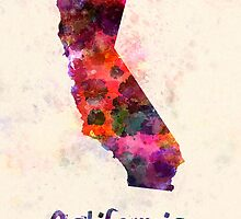California US state in watercolor by paulrommer
