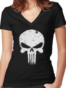 punisher Skull Women's Fitted V-Neck T-Shirt