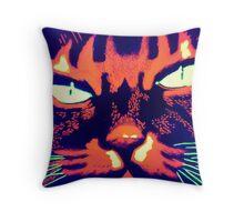 Psycho cat Throw Pillow