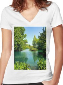 Aqua Lake Women's Fitted V-Neck T-Shirt