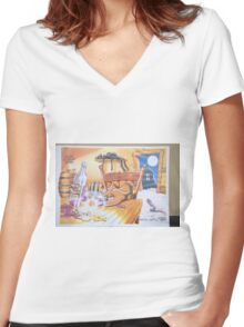 Smedley the feral cat. Women's Fitted V-Neck T-Shirt