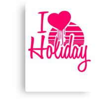 I Love Holiday Heart sun beach sea logo Canvas Print