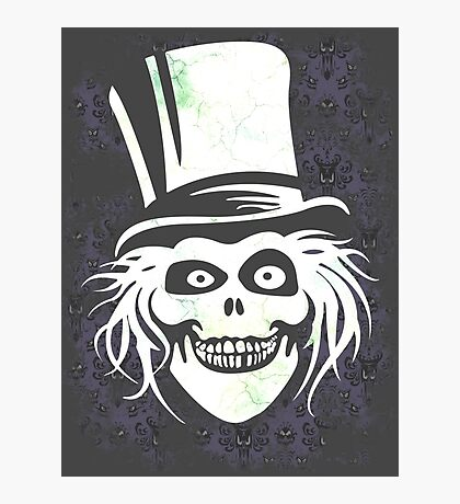 HATBOX GHOST WITH GRUNGY HAUNTED MANSION WALLPAPER Photographic Print