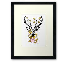 Deer with crystals and flowers Framed Print