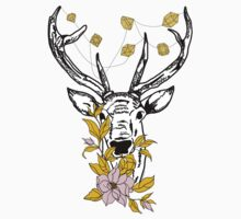 Deer with crystals and flowers One Piece - Short Sleeve