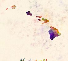 Hawaii US state in watercolor by paulrommer