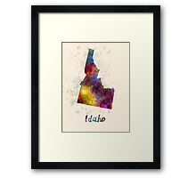 Idaho US state in watercolor Framed Print