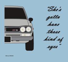 "Nissan Skyline 2000 GT-R - ""She's gotta have those kind of eyes"" One Piece - Short Sleeve"