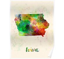 Iowa US state in watercolor Poster
