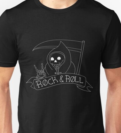 Rock and Roll Grim Outline Unisex T-Shirt
