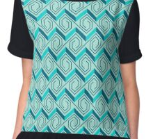 Stairs to the Blue Roof Seamless Pattern Chiffon Top