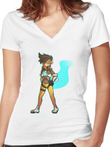 Overwatch - Tracer Women's Fitted V-Neck T-Shirt