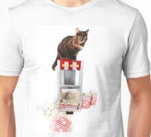 Cat on Pop Corn Machine Unisex T-Shirt