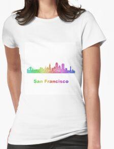 Rainbow San Francisco skyline Womens Fitted T-Shirt