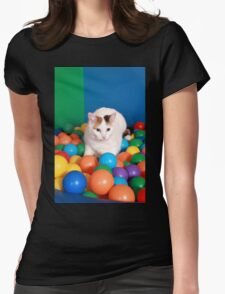 Cat Playing in balls Womens Fitted T-Shirt