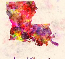 Louisiana US state in watercolor by paulrommer