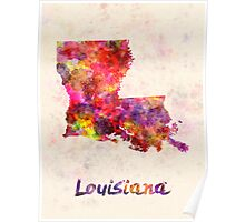 Louisiana US state in watercolor Poster