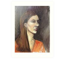 Portrait of a Brown haired Girl Art Print