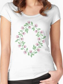 Pink Paper Flower Vine Women's Fitted Scoop T-Shirt
