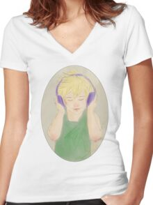 Headphone Ven Women's Fitted V-Neck T-Shirt