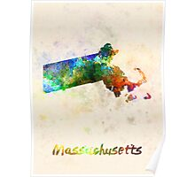 Massachusetts US state in watercolor Poster