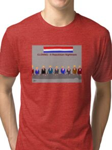 Cloning, A Republican Nightmare, by Roger Pickar, Goofy America Tri-blend T-Shirt